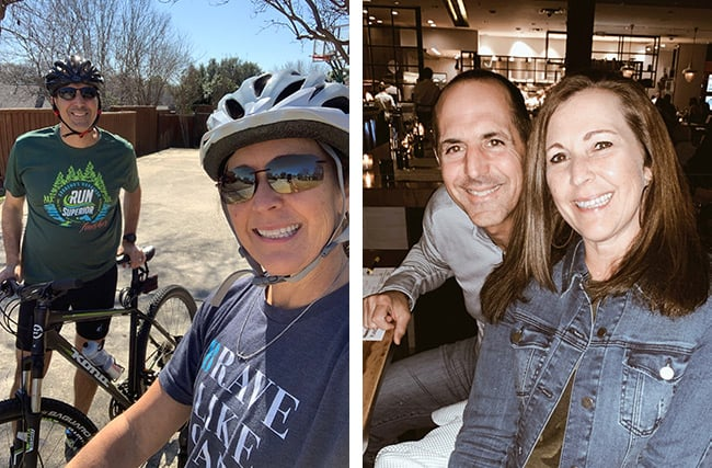A collage of us biking, and us at a restaurant.