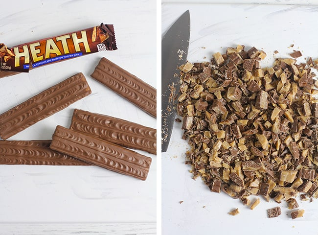 collage of 1) the Heath bars and 2) the chopped Heath bars.