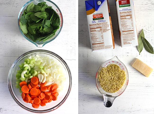 Collage of 1) the veggies for the soup, and 2) the broth ingredients plus orzo.
