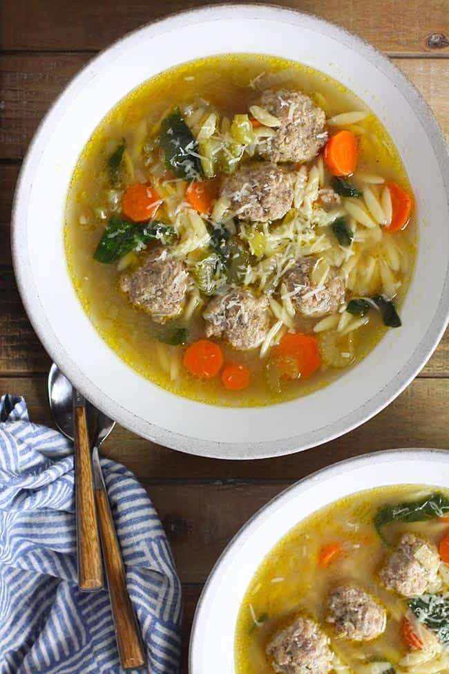 Two bowls of Easy Italian Wedding Soup.