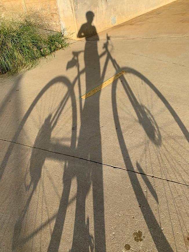 A shadow picture of me on my bike.