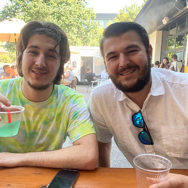 Josh and Zach in Austin at a brewery.