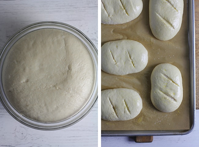 Collage of 1) the bread dough, and 2) the dough formed into baguettes.