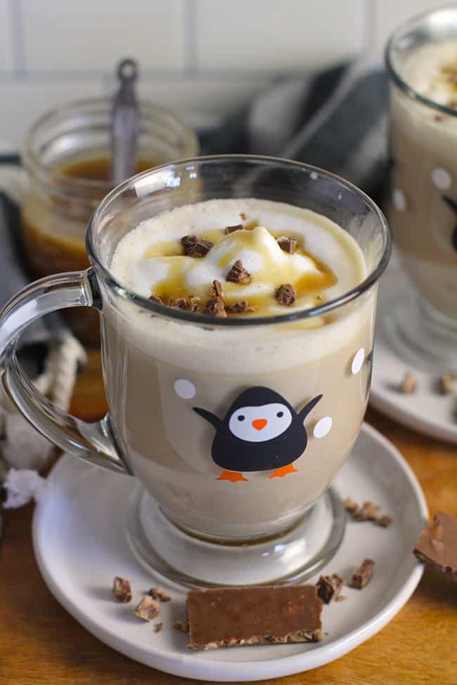 A mug of homemade caramel latte.