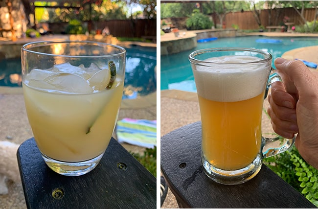 A collage of 1) a cocktail, and 2) a beer.