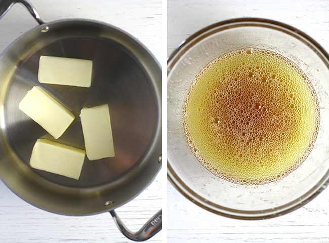 Collage of 1) a pan of butter half sticks, and 2) the browned butter in a bowl.