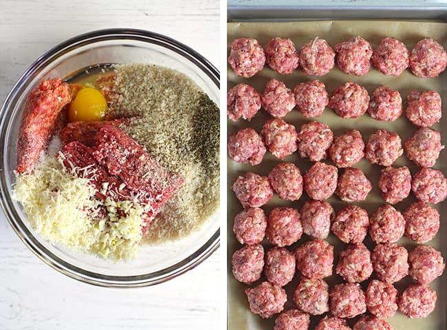 Collage of 1) the meatball ingredients in a bowl, and 2) the raw meatballs.