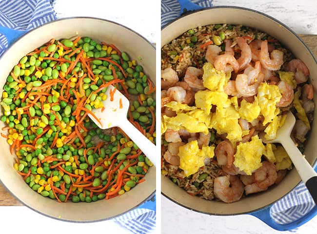 Collage of 1) the sautéed veggies, and 2) the fried rice with the shrimp and eggs on top.