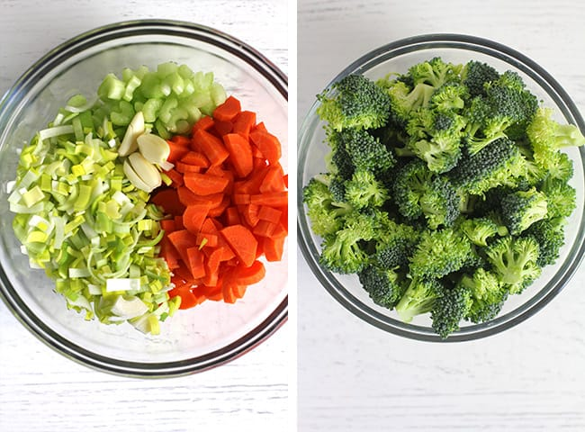 Collage of 1) the chopped veggies, and 2) the broccoli florets.