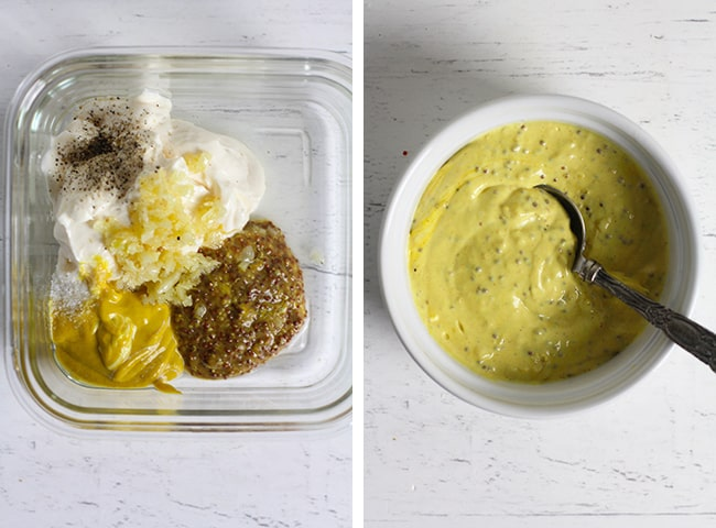 Collage of 1) whole grain mustard aioli ingredients, and 2) the finished aioli.