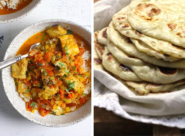 Collage of curry fish stew and homemade naan bread.