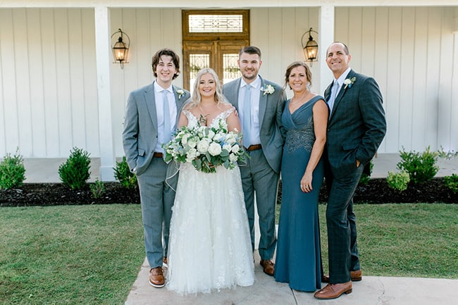 A photo of our family from Josh and Tiffany's wedding in August of 2020.