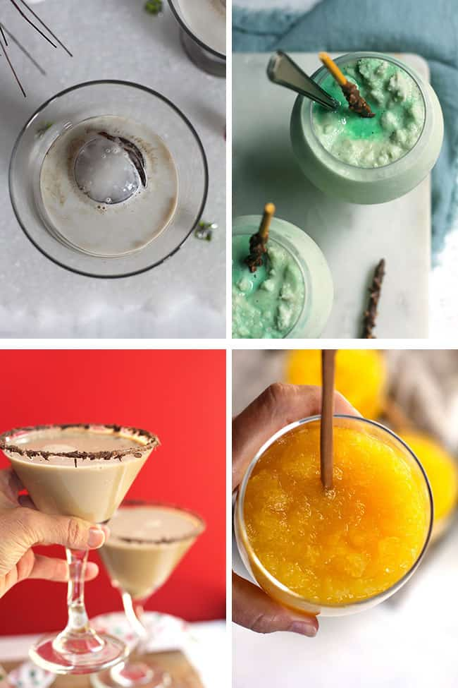 Collage of cocktails - White Russian, grasshoppers, chocolate martinis, and frozen vodka slush.
