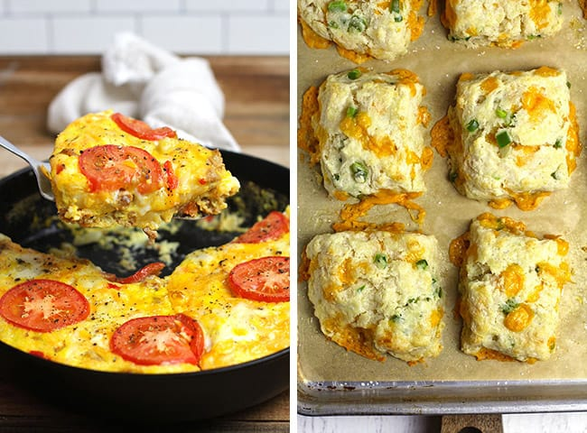 Collage of breakfast frittata and cheddar jalapeño biscuits.