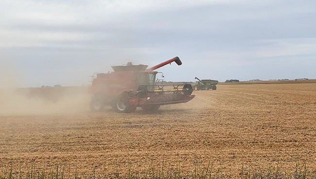 Picture of a tractor in the fields, harvesting.