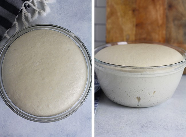 Collage of the bread dough.