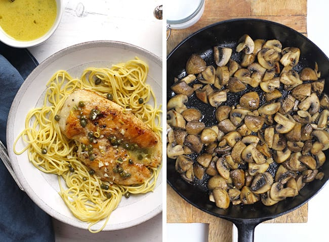 Collage of chicken piccata and sautéed mushrooms.