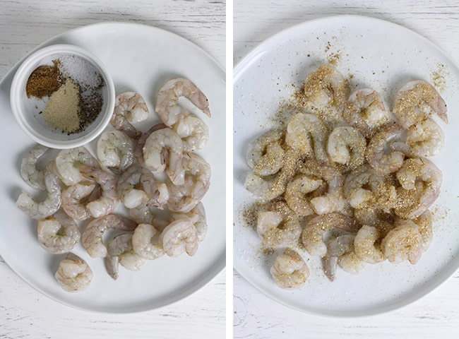 Collage of a plate of raw shrimp, and another with seasoning on top.