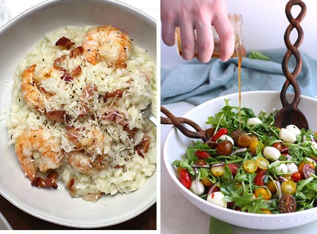 Collage of shrimp risotto and arugula Caprese salad.