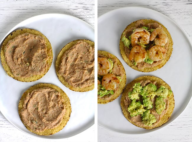 A collage of 1) tostadas with the refried bean layer, and 2) the tostadas with avocado and then shrimp.