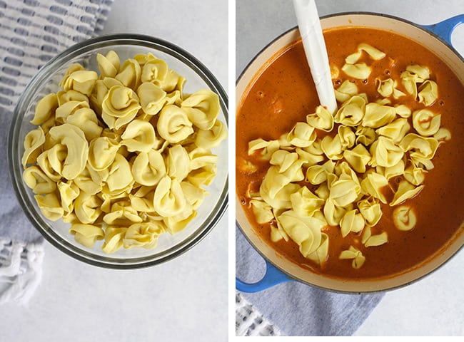 Collage of 1) the cheese tortellini, and 2) the soup with tortellini on top.