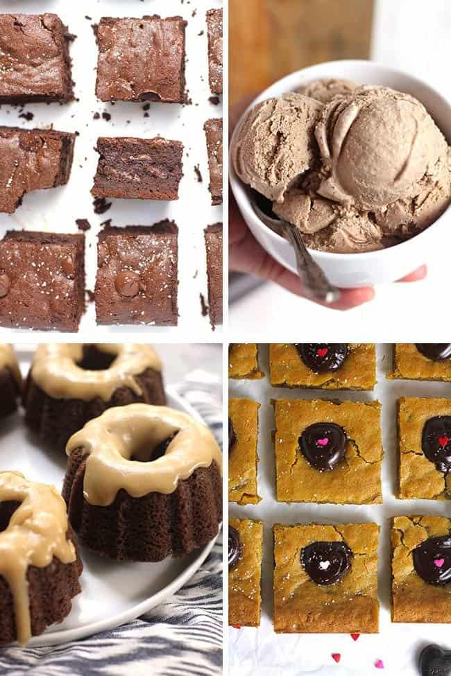 A collage of Valentine desserts - brownies, choc ice cream, choc bundt, brown butter blondies.