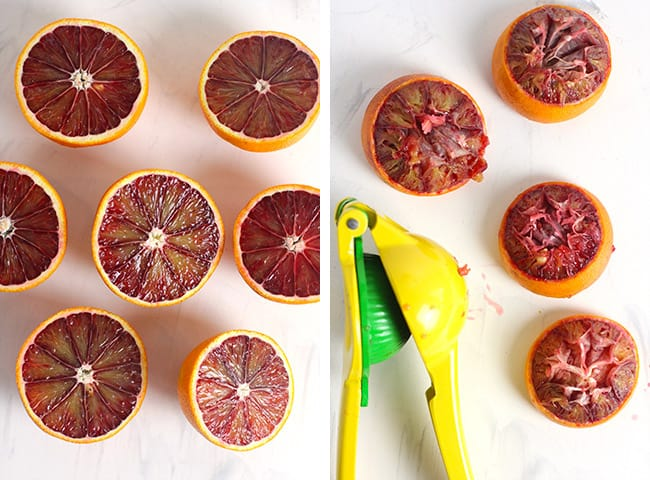 A collage of 1) the blood oranges and 2) the blood oranges after squeezing.