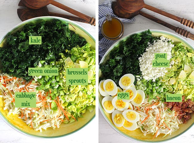 Collage of 1) the cruciferous veggies, and 2) a bowl of all ingredients separated out.