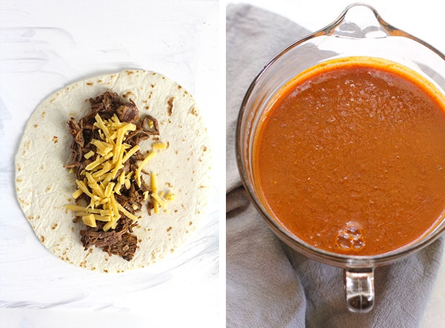 Collage of 1) a tortilla with beef and cheese and 2) a measuring cup of enchilada sauce.
