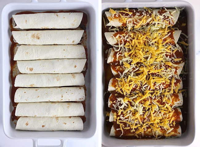 Collage of 1) the enchiladas in the casserole before sauce and cheese and 2) the enchiladas with the sauce and cheese.