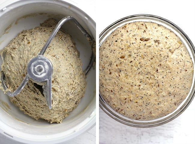 Overhead collage of 1) the multi-grain seeded bread dough in mixer, and 2) the bread dough in glass bowl.