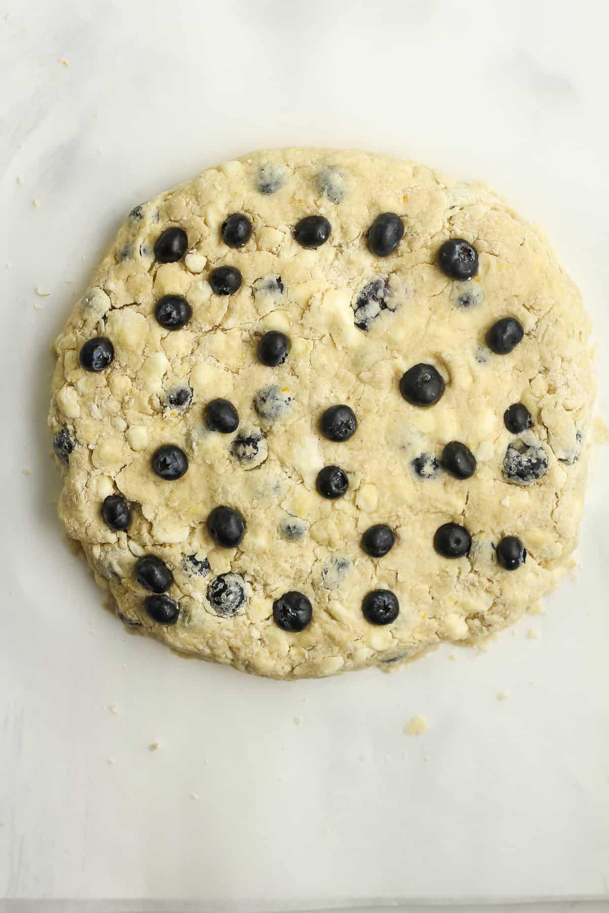 A round of scone dough.