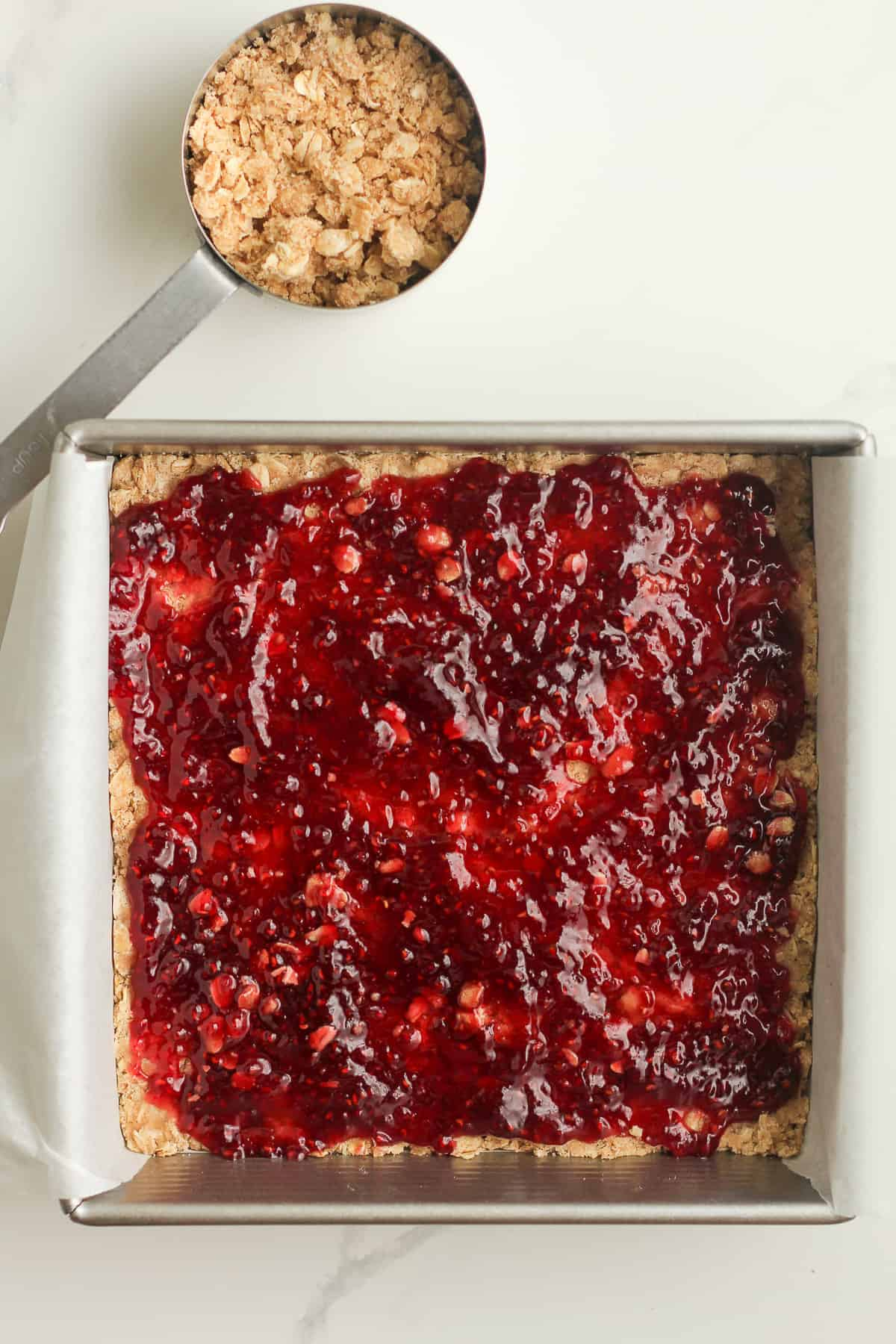 The oatmeal bars with the jam layer on top.