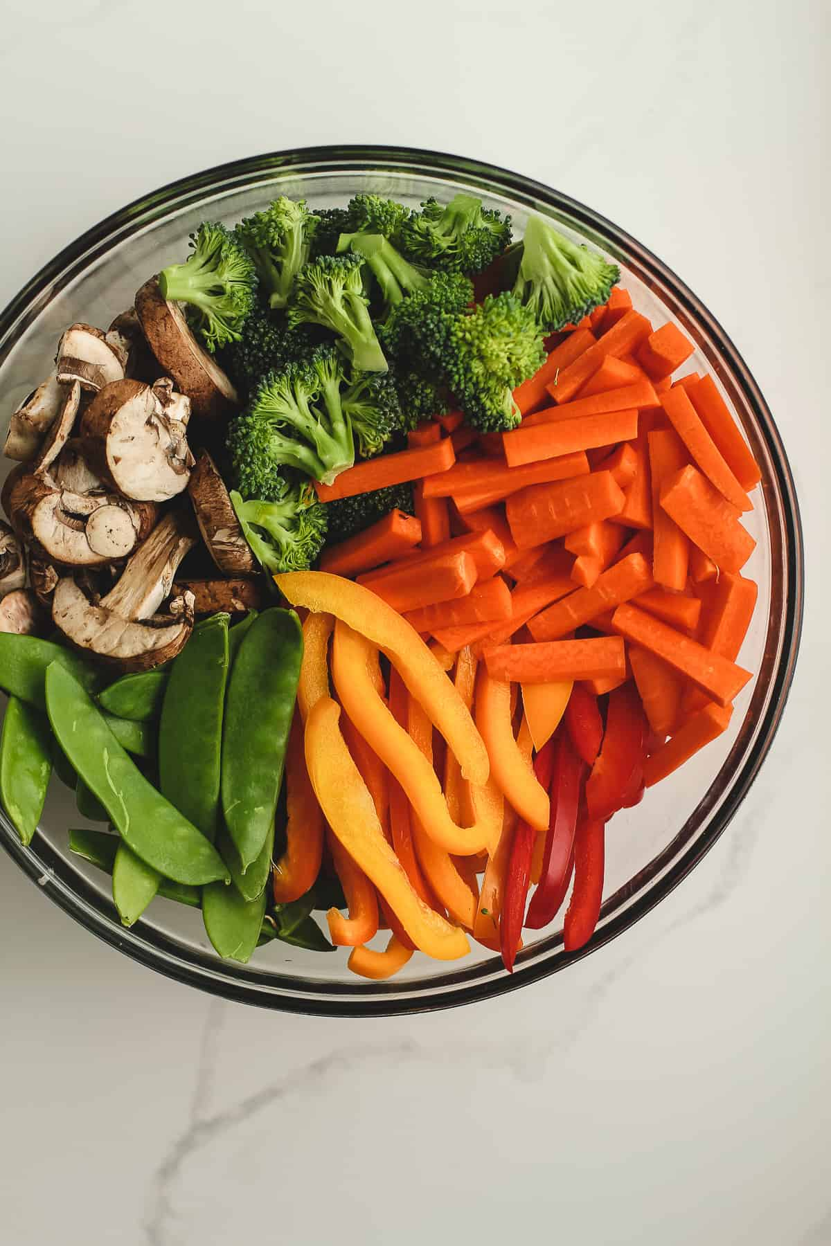 A large bowl of veggies for stir fry.