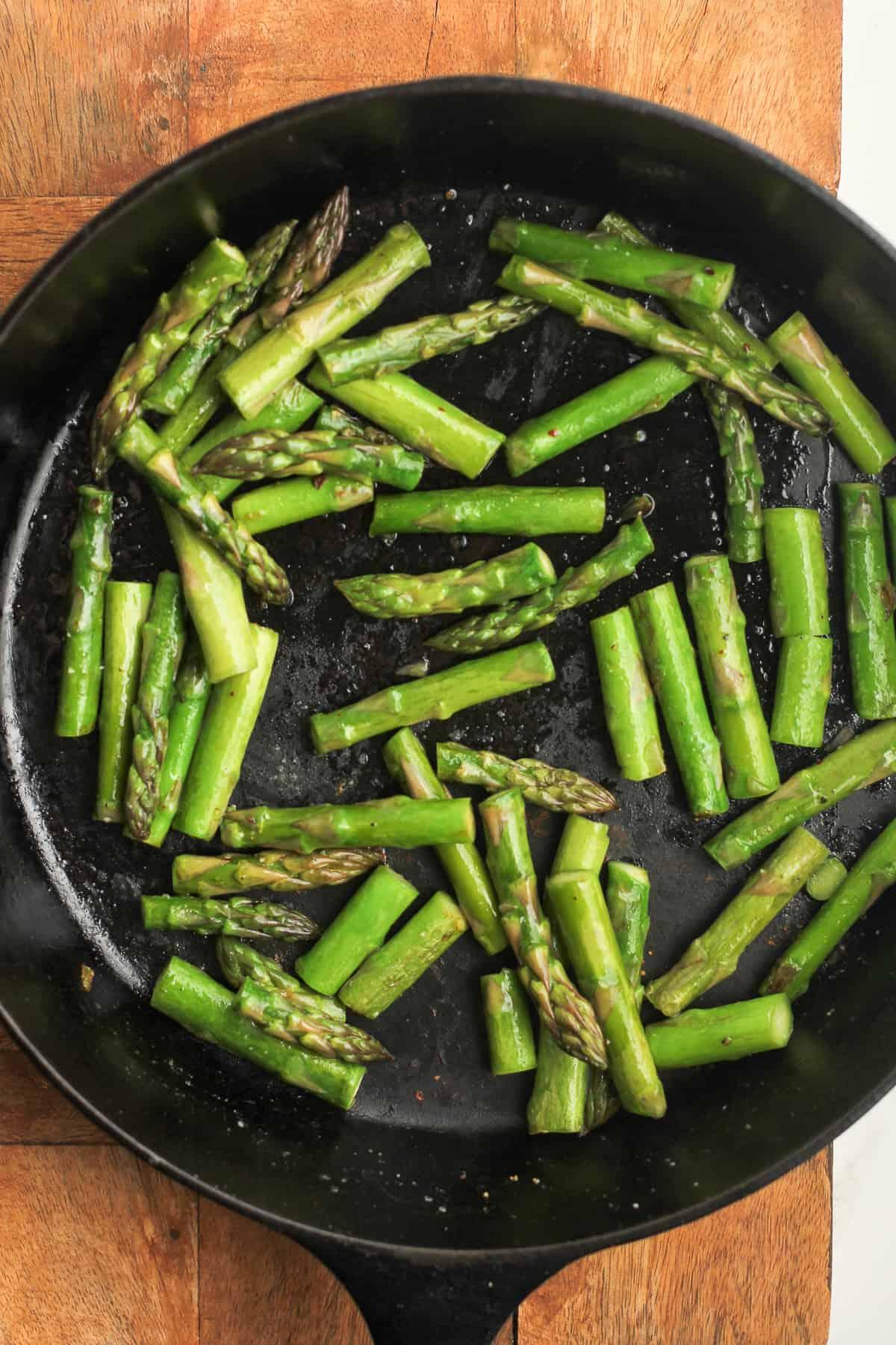 A skillet of asparagus.