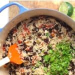A stockpot of Spanish Rice and beans.
