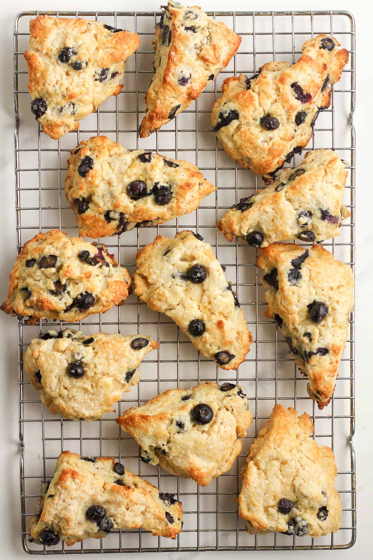 A baking rack of scones.