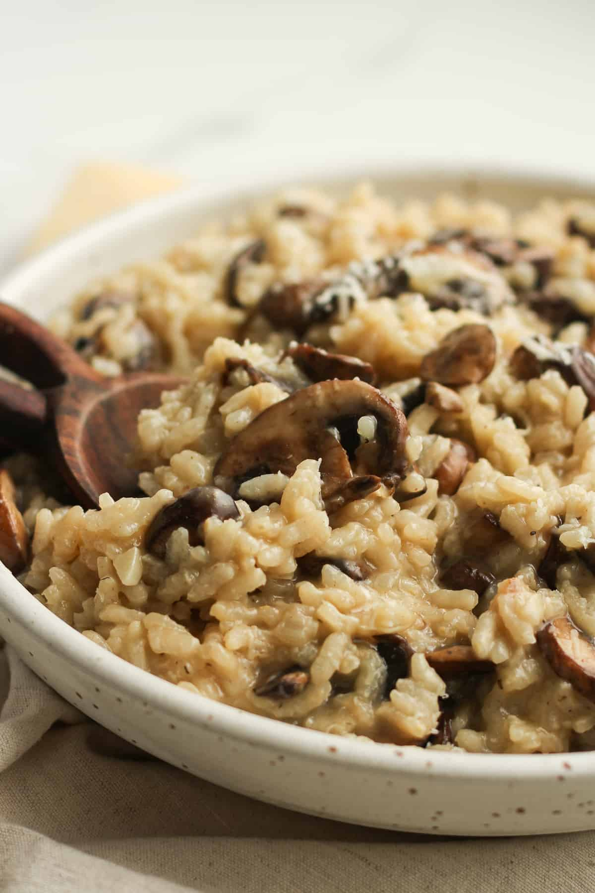 Side shot of a bowl of creamy mushroom risotto.