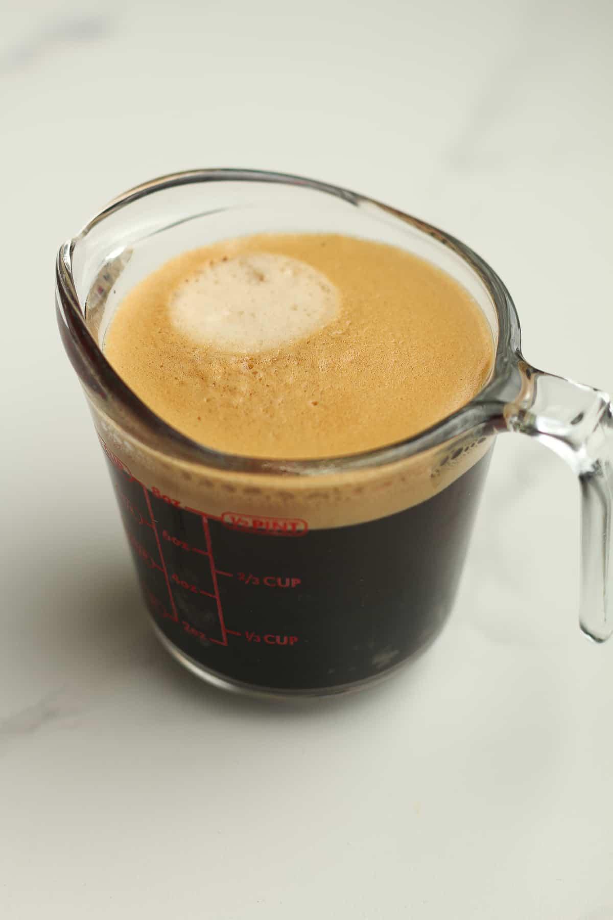 A cup of espresso.