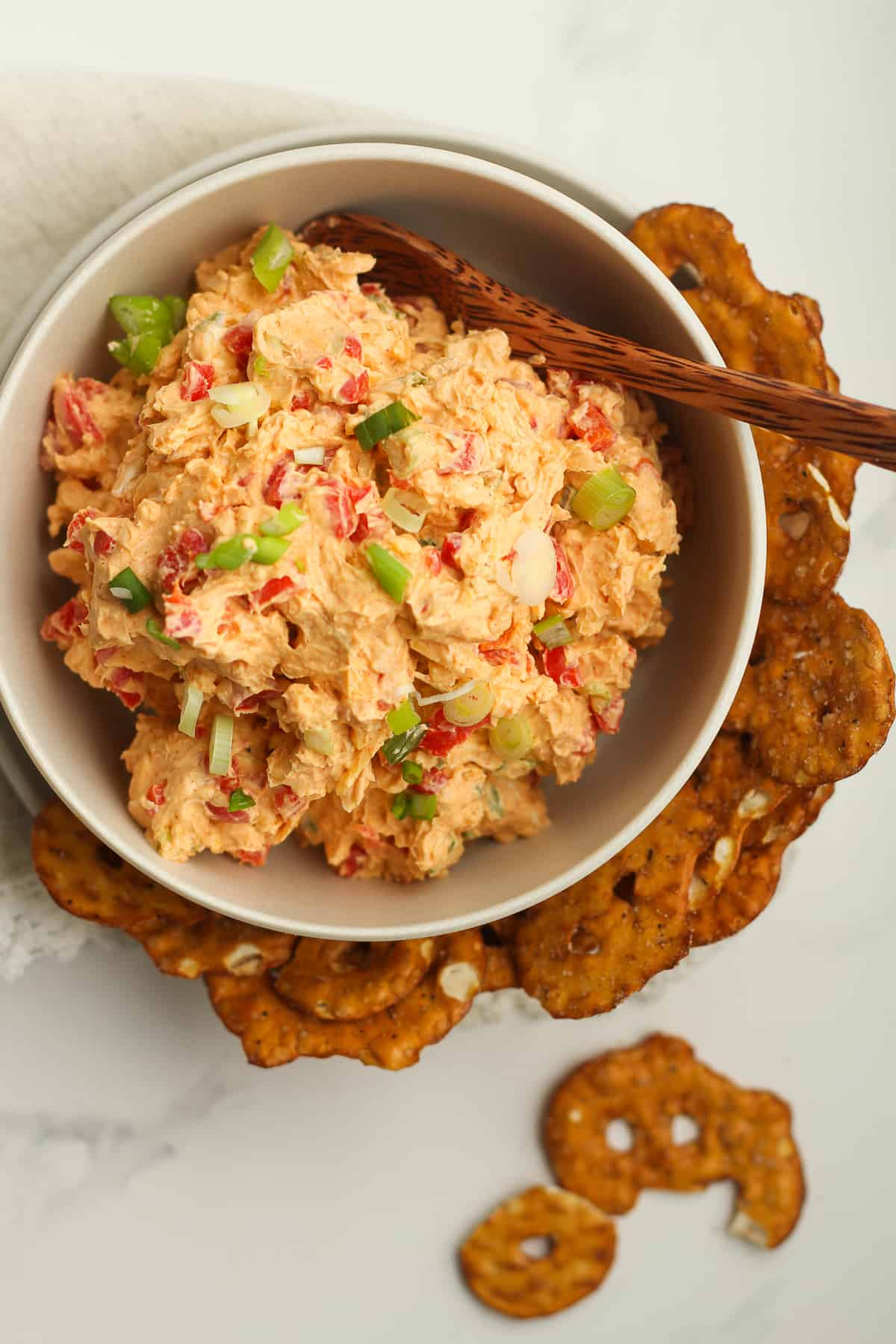 Overhead shot of a bowl of southern pimento cheese.