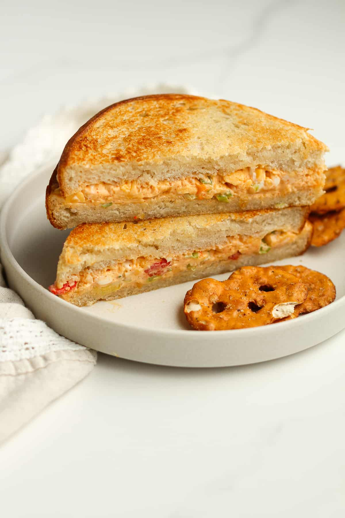 A grilled cheese pimento sandwich.