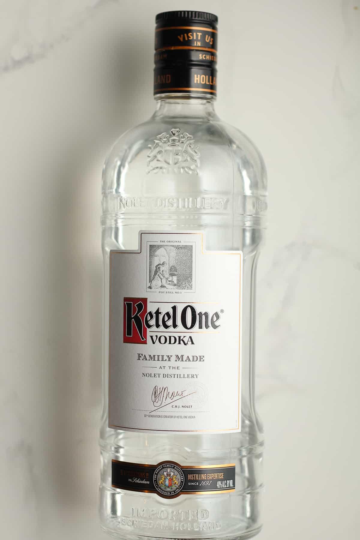 A bottle of Ketel One Vodka.