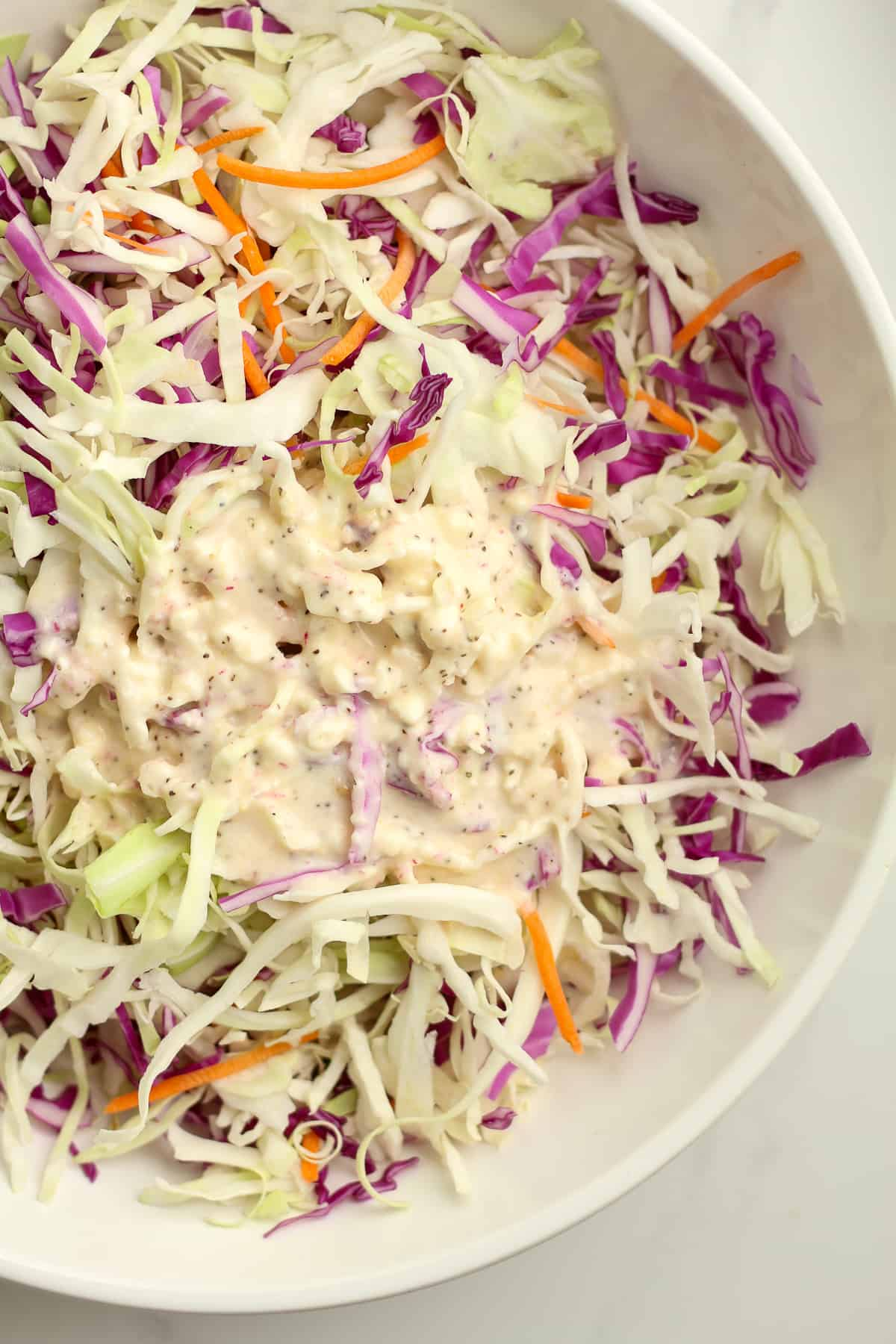 A closeup on the coleslaw with the dressing on top.