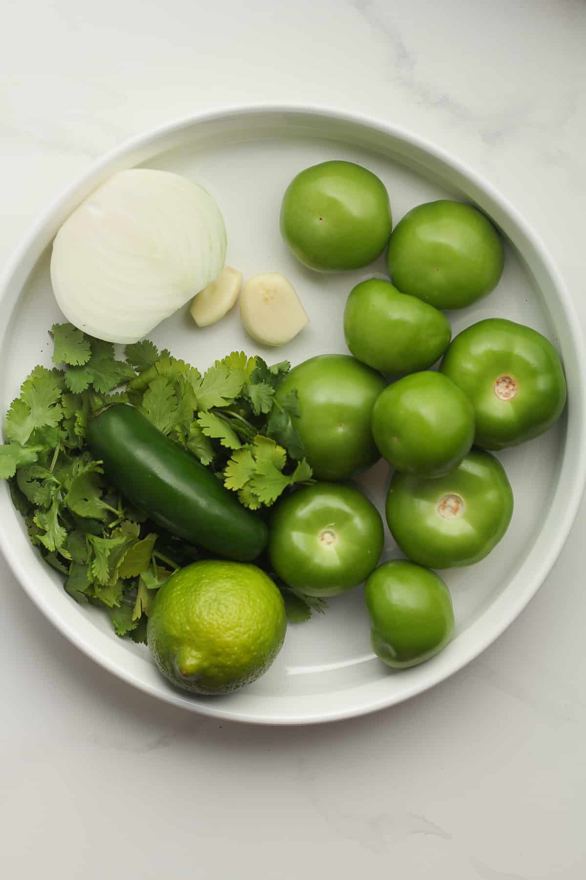 A tray of the ingredients for salsa verde.
