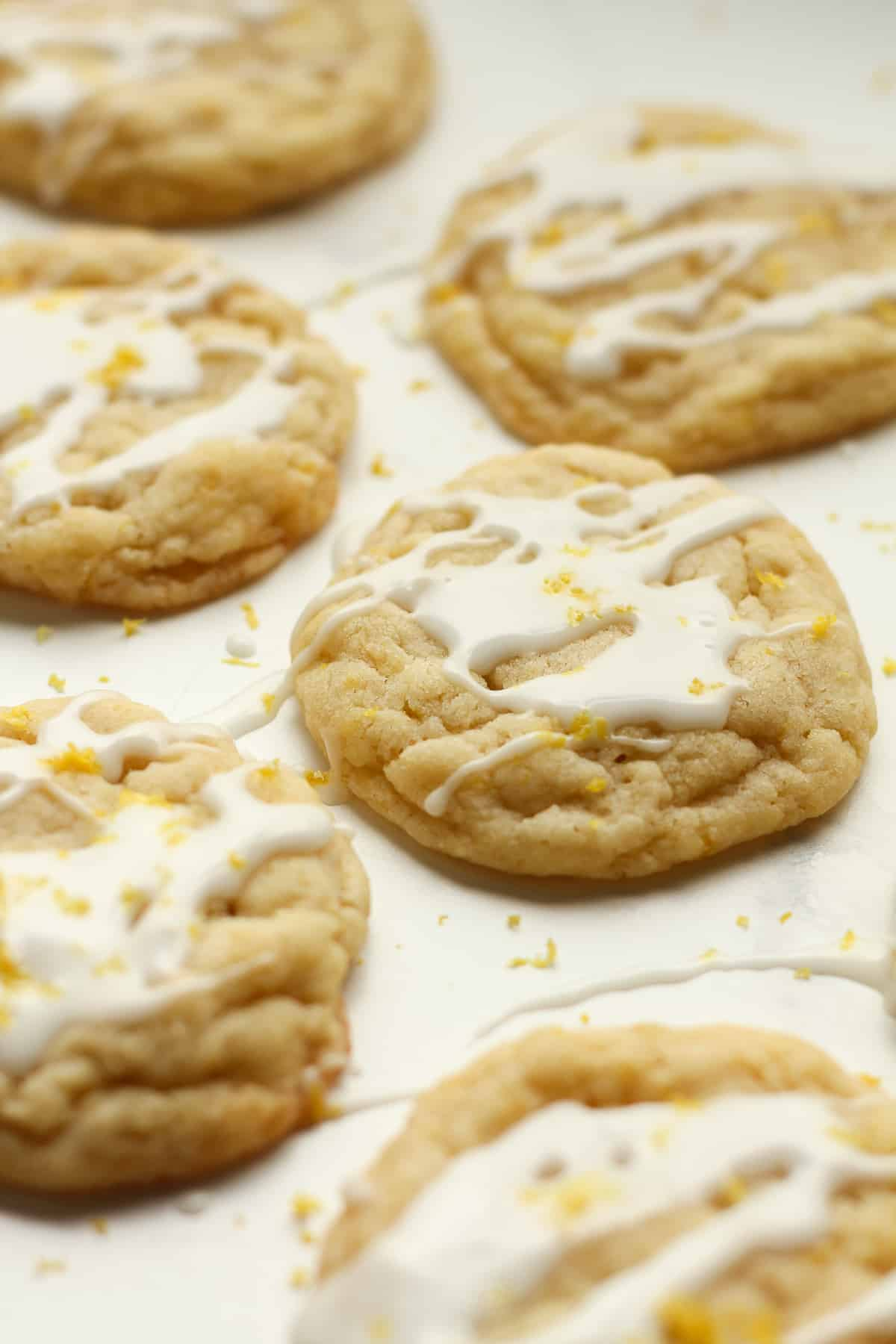 Side shot of lemon sugar cookies, glazed.