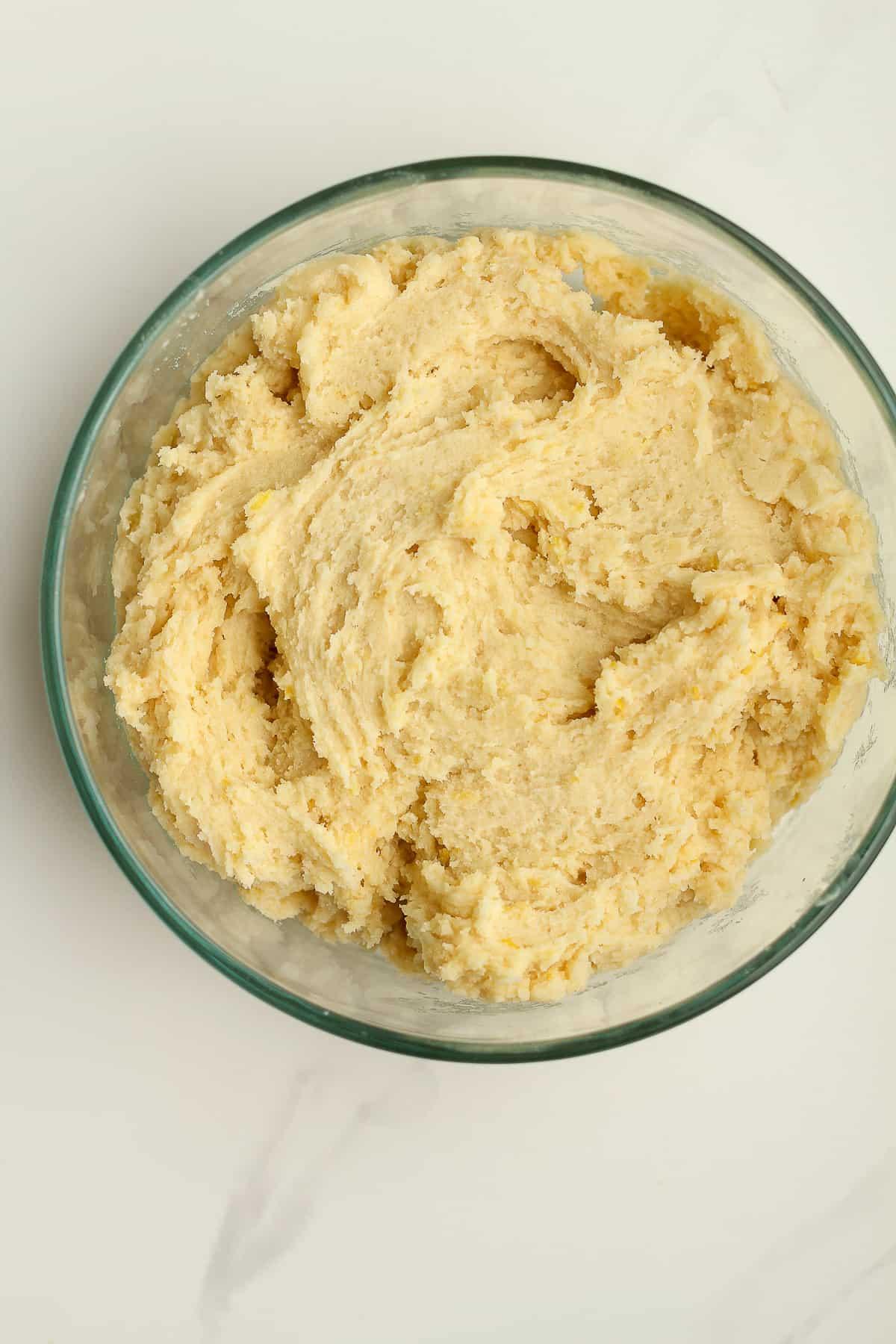 A bowl of lemon sugar cookie dough.