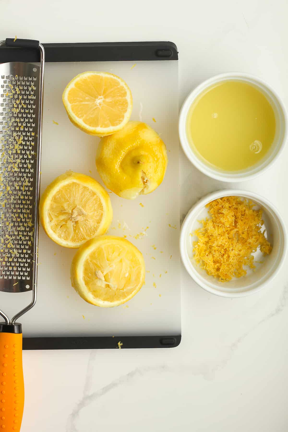 Some freshly squeezed lemons and zest.