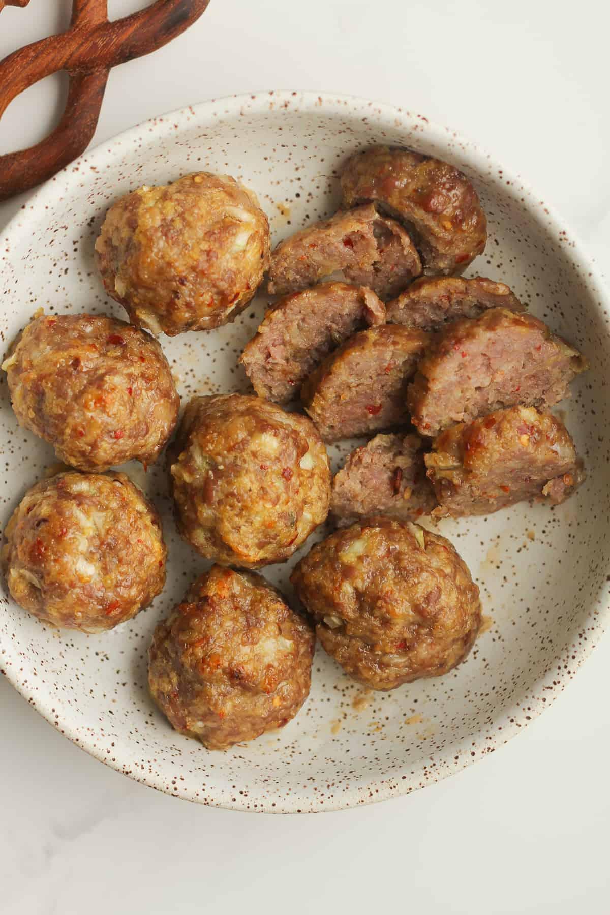 Closeup of a bowl of sausage meatballs.