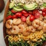 Closeup on a shrimp avocado salad.