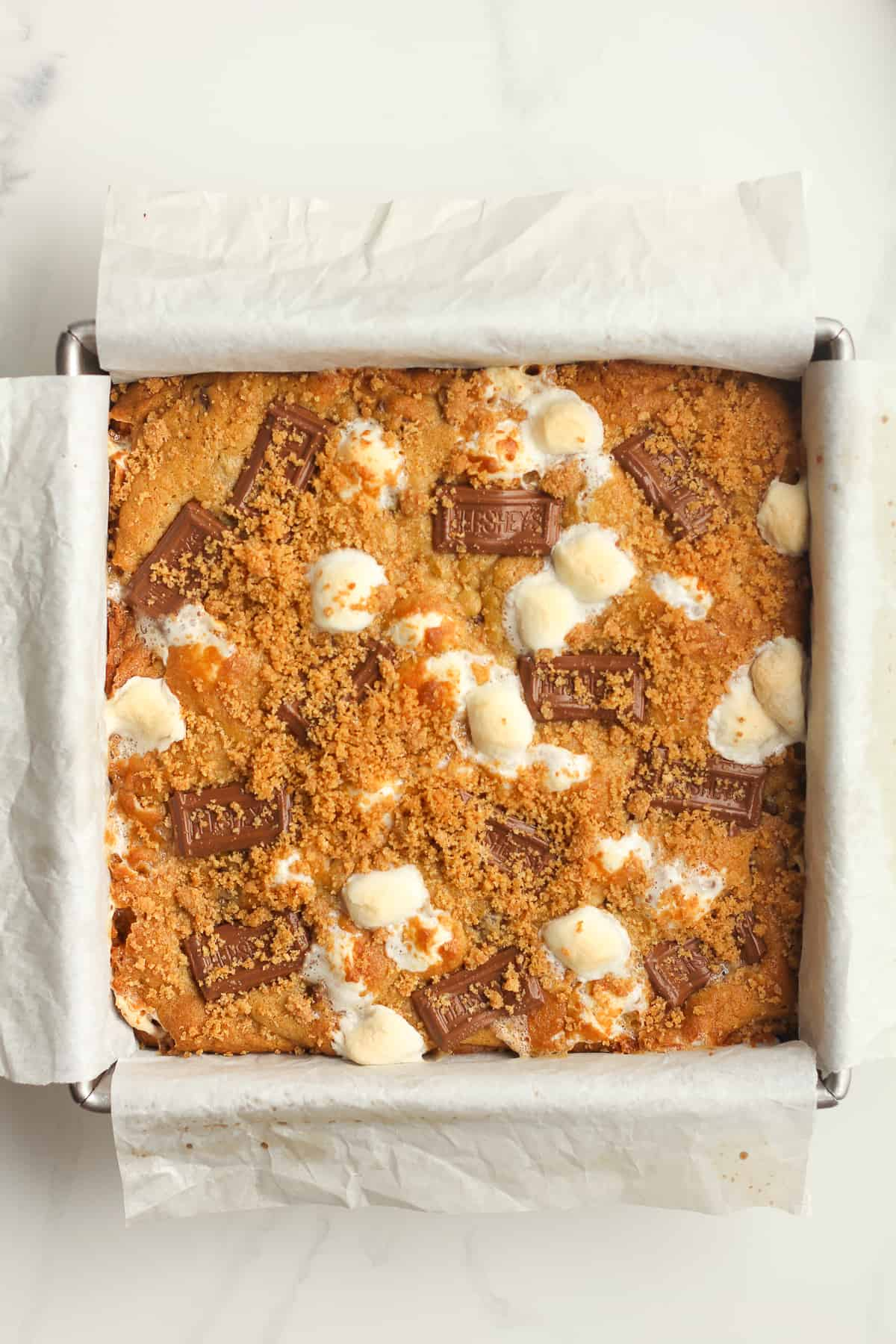 A pan of baked s'mores bars.
